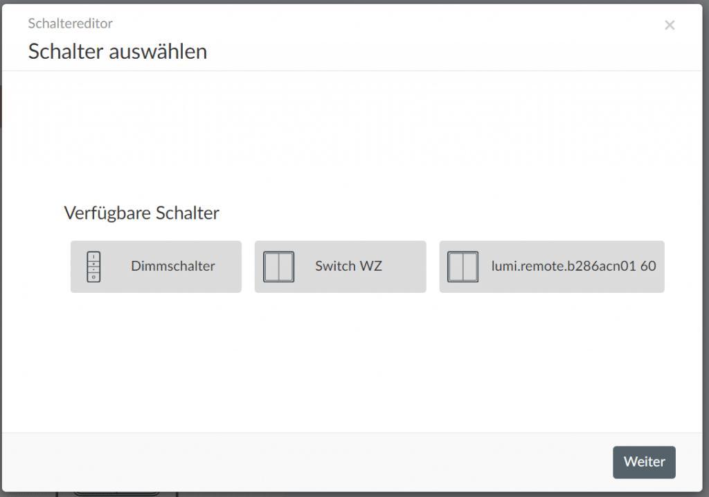 Phoscon Gruppe bearbeiten Schaltereditor, Schalter hinzufügen