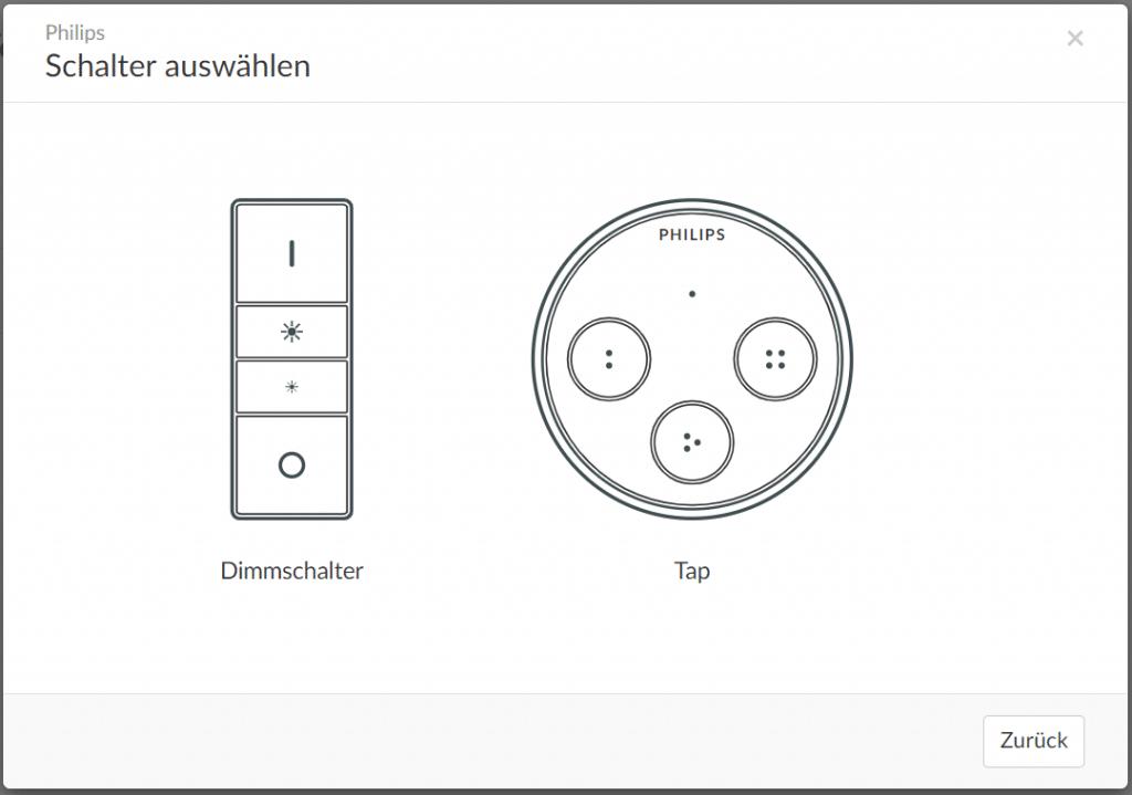 Phoscon einrichtung von Philips Schaltern