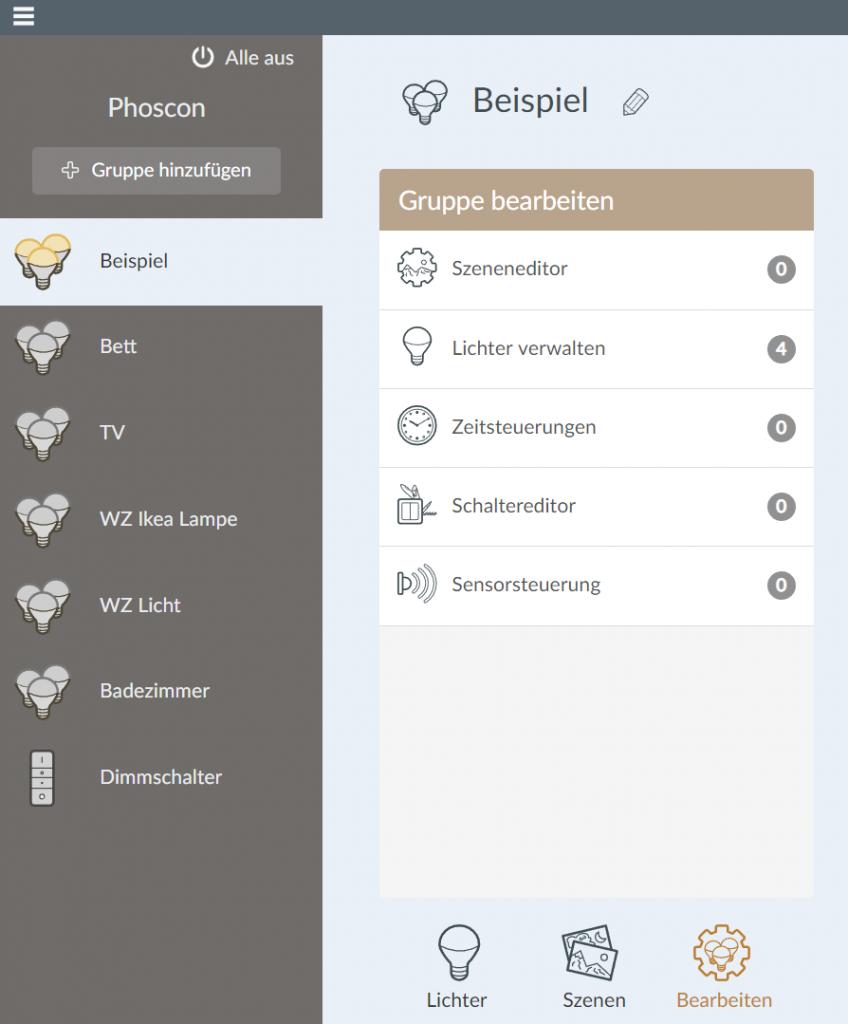 Phoscon Gruppe bearbeiten mit lichtern