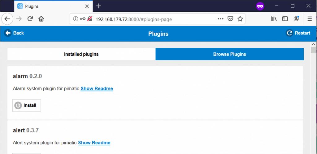 Pimatic plugins suchen
